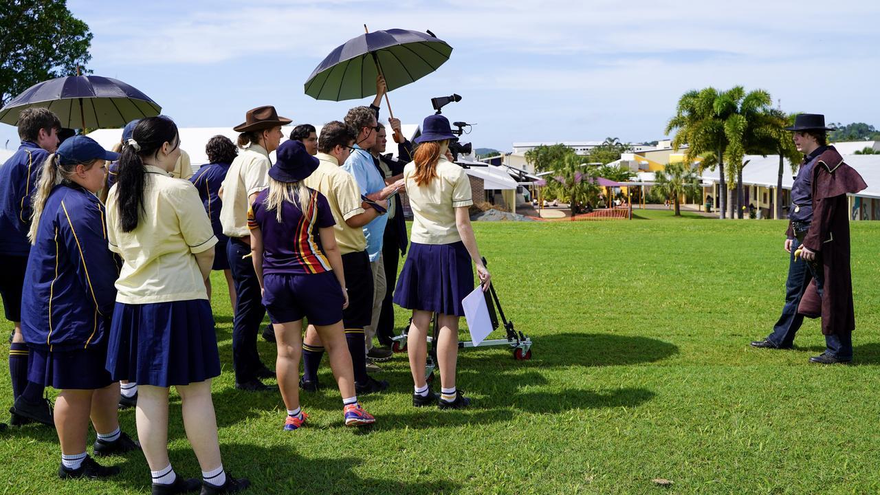 Oscar-winning cinematographer Greg Huglin teaching Holy Spirit College students the art of filmmaking. Picture: Heidi Petith