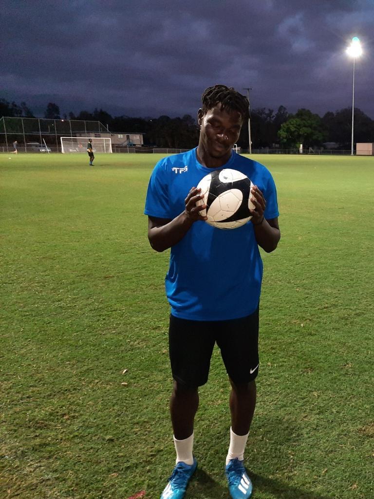 Western Spirit goal scoring ace Charles Amalu has his eye on the ball. Picture: David Lems