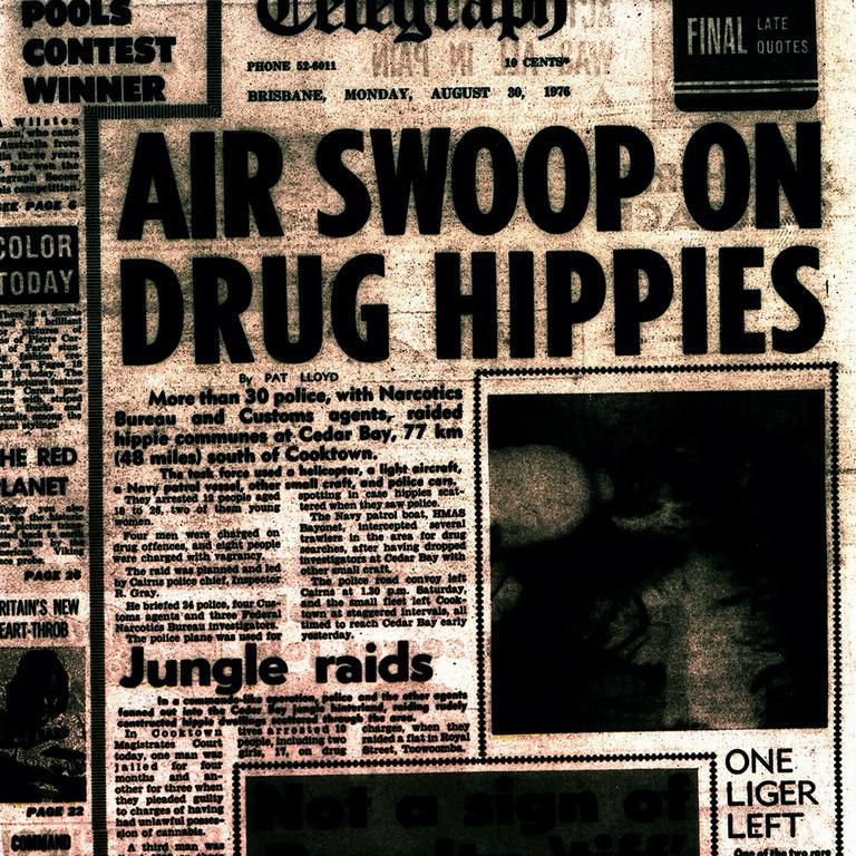 Telegraph front page 30 Aug 1976 showing headline on police drug raid of Cedar Bay hippie commune.