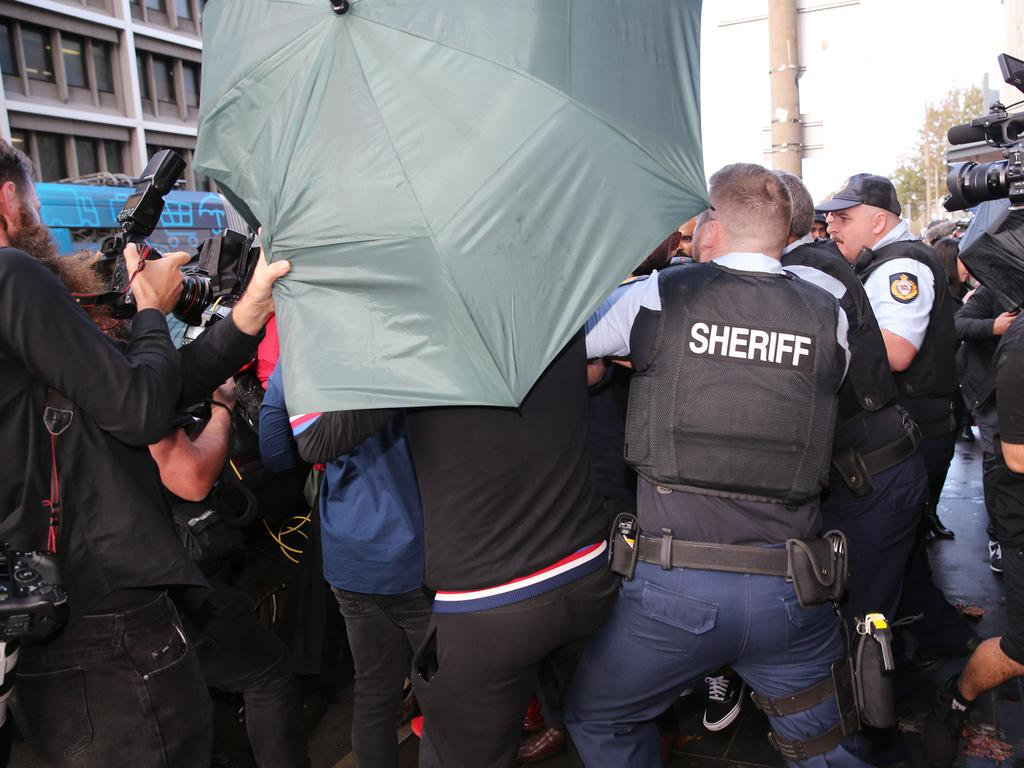 A violent altercation took place between supporters and journalists. Picture: NCA NewsWire / Peter Lorimer.