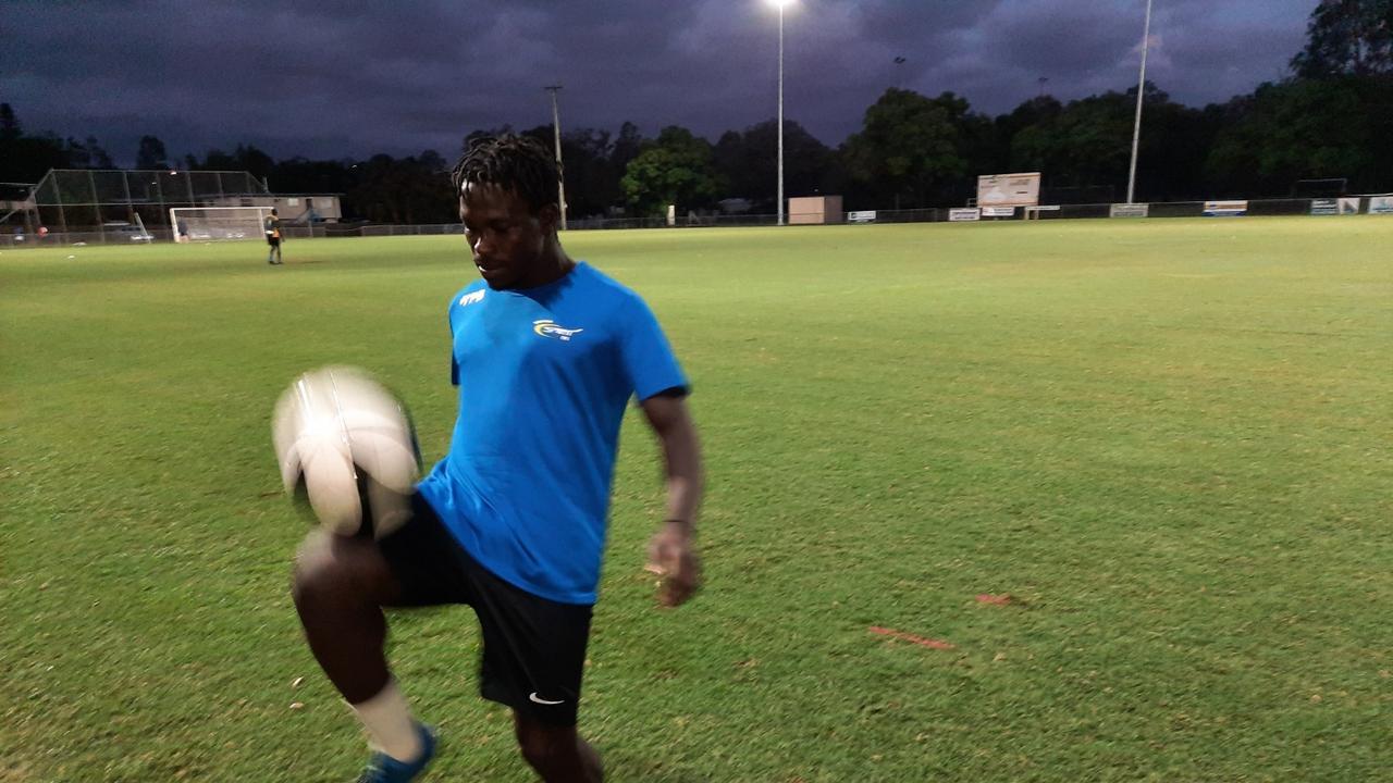 Western Spirit winger Charles Amalu at training. Picture: David Lems