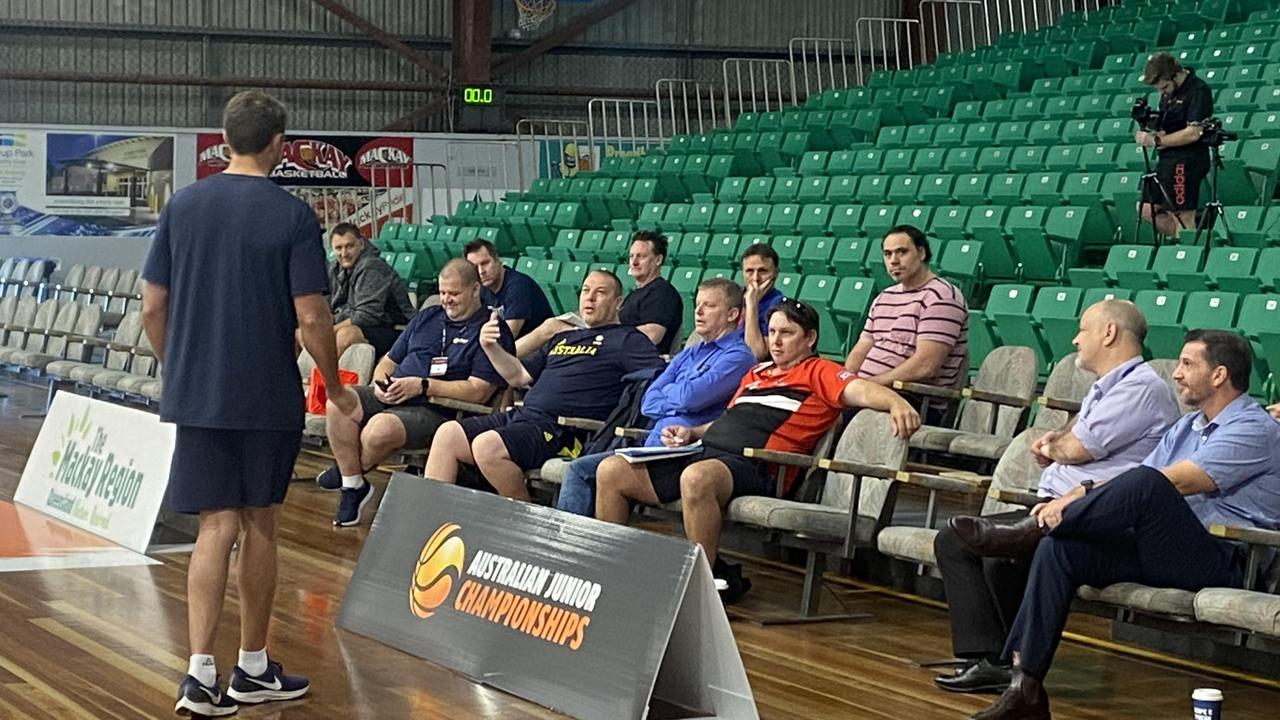 Adam Caporn addresses coaches at the clinic in Mackay, 2021. Matthew Forrest