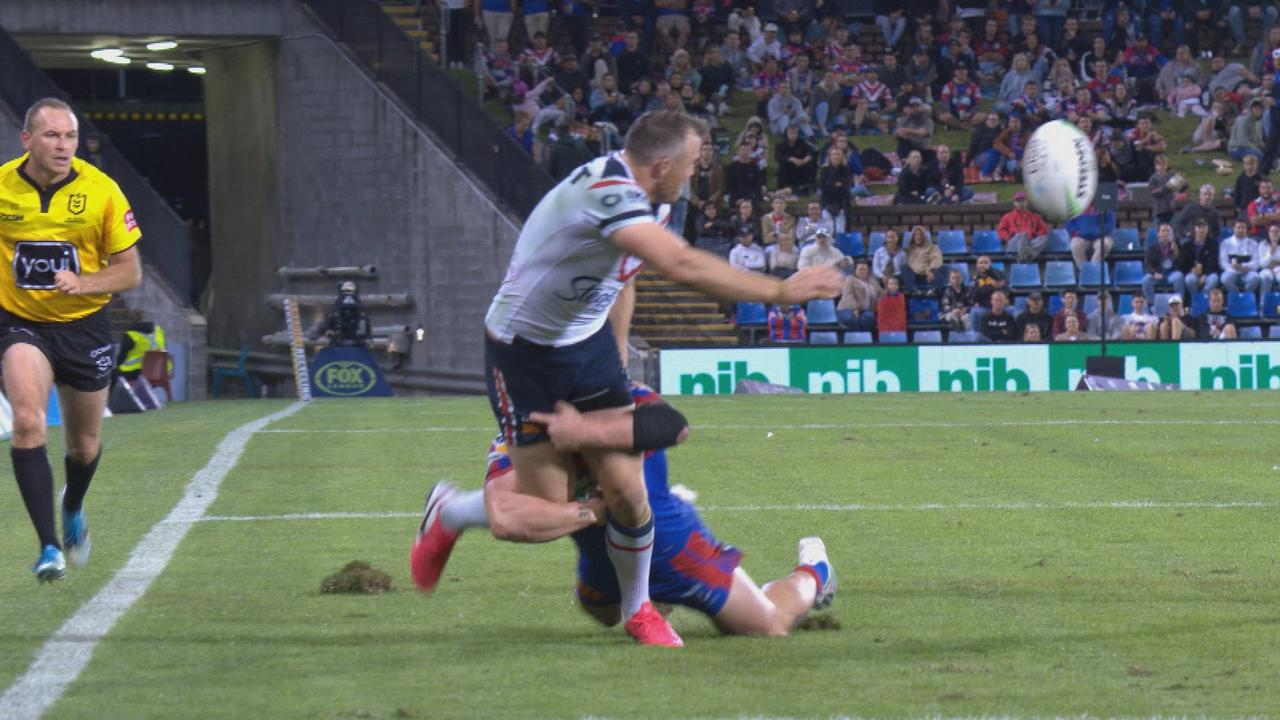 Ground staff were replacing divots at halftime of the Knights v Roosters match last weekend but the NRL denies the surface caused injuries.