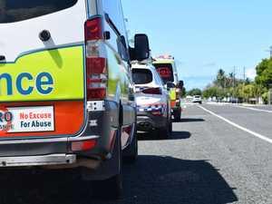 Injured man taken to hospital after motorbike, car crash