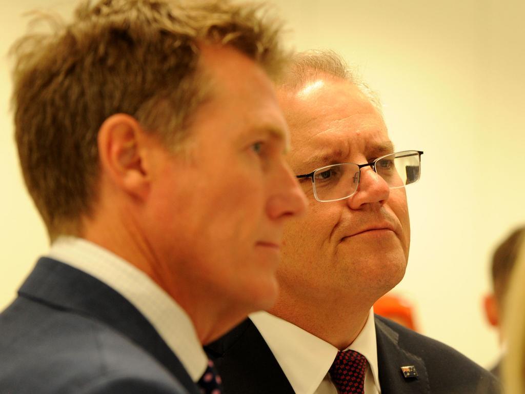 Prime Minister Scott Morrison with Christian Porter. Picture: Sharon Smith
