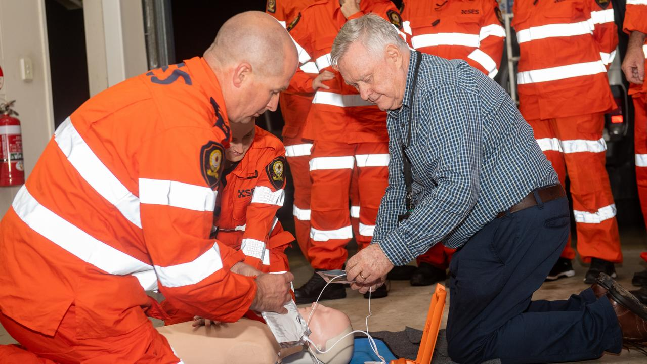 Lowood SES volunteers gain first hand experience with their new defib machine. PHOTO: Ali Kuchel
