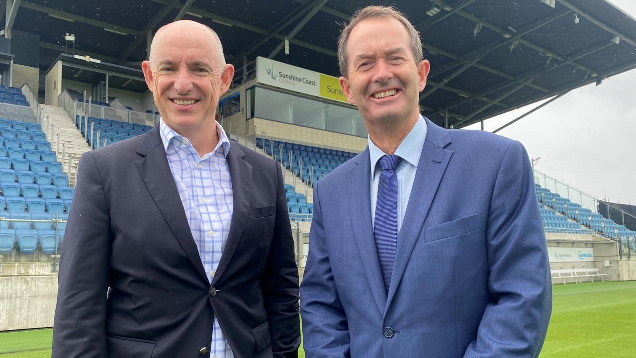 Federal Minister Stuart Robert and Fisher MP Andrew Wallace at Sunshine Coast Stadium.