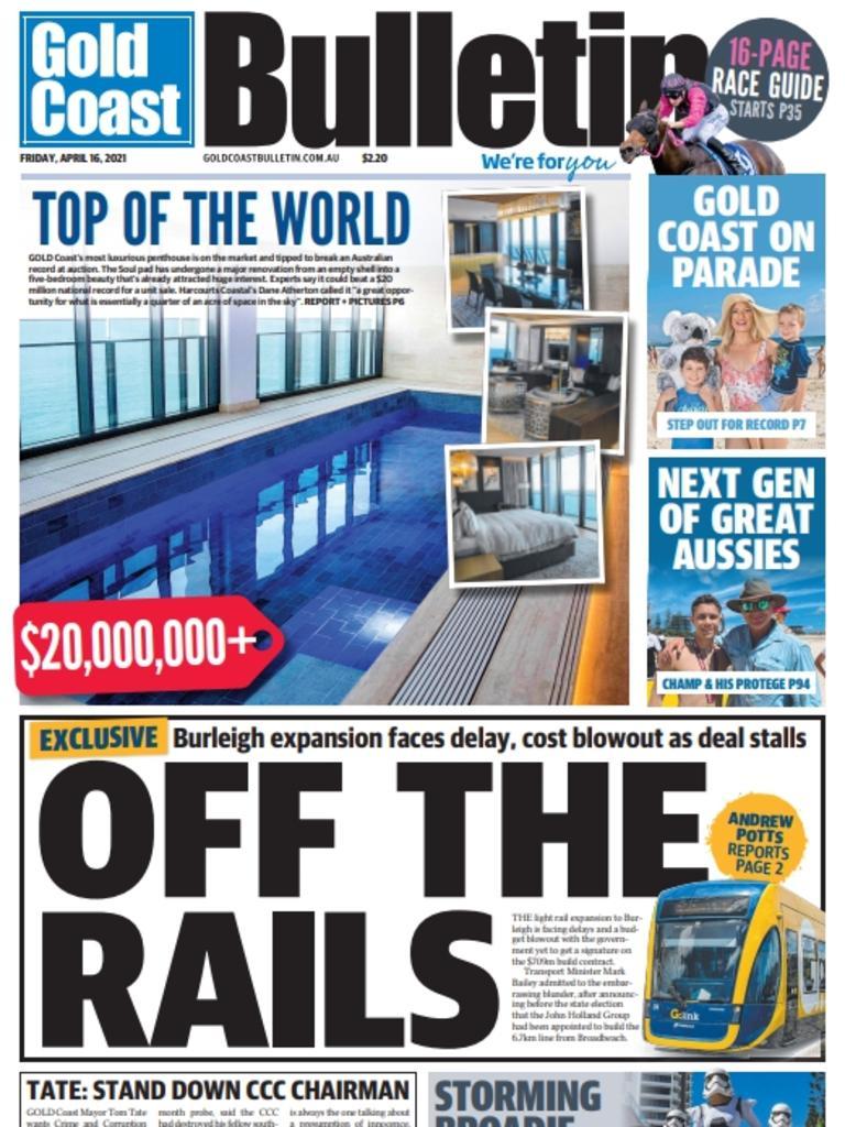 Gold Coast Bulletin, Friday April 16, 2021: How the Bulletin broke the story.