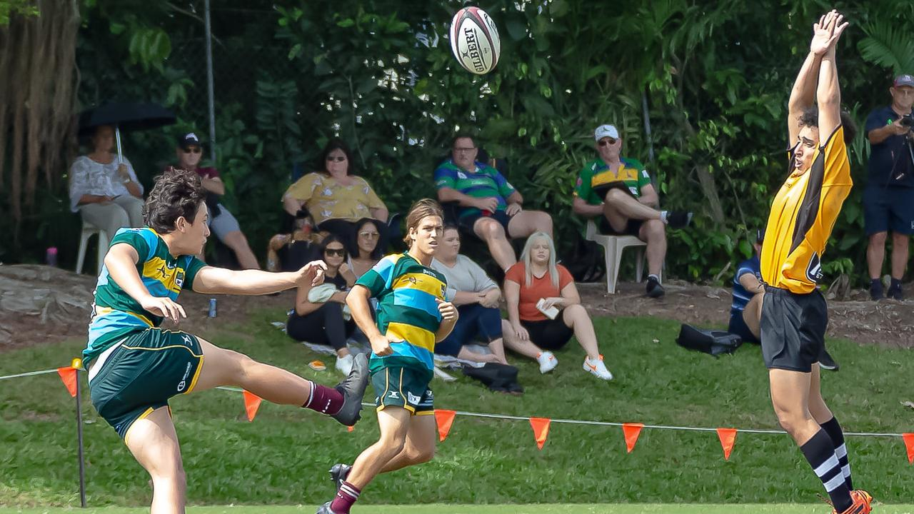 Kynan Ashton-Martin clearing the ball from his own half while representing SEQ. Picture Chris Lodge