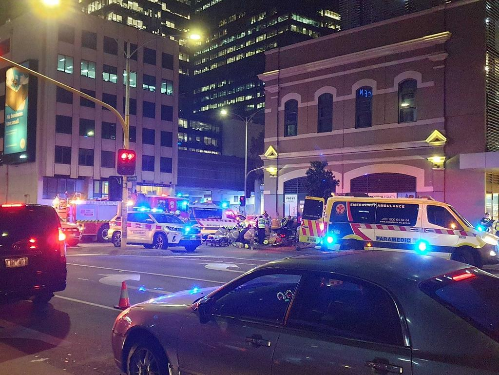 Emergency services at the scene after a truck ploughed into a group of pedestrians.