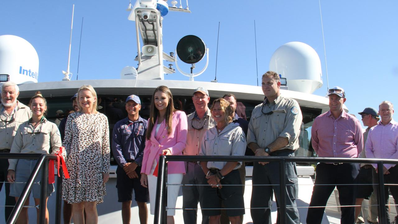 Federal Environment Minister Sussan Ley, Queensland Environment and Great Barrier Reef Minister Meaghan Scanlon and Manufacturing, Regional Development and Water Minister, Member for Gladstone Glenn Butcher with Queensland Parks and Wildlife rangers on the bow of the $9.7m Reef Resilience vessel. Picture: Rodney Stevens