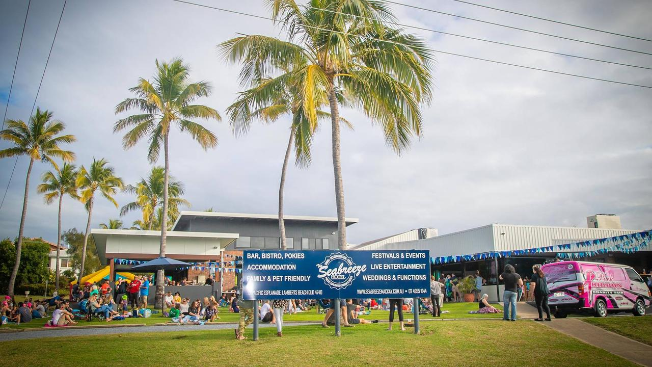Seabreeze Hotel, opposite Lamberts Beach, has a dedicated outdoor stage for live music. Picture: File