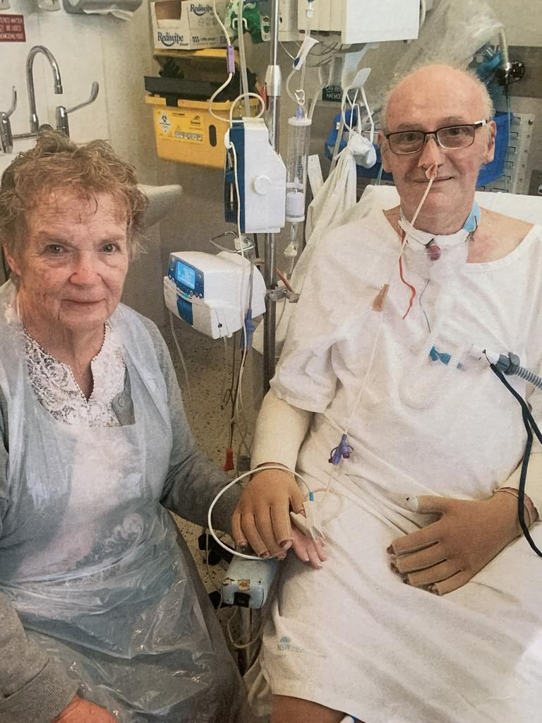 John and Beverly, his wife of 48 years, during John's recovery at the Burns Unit at Concord Hospital.