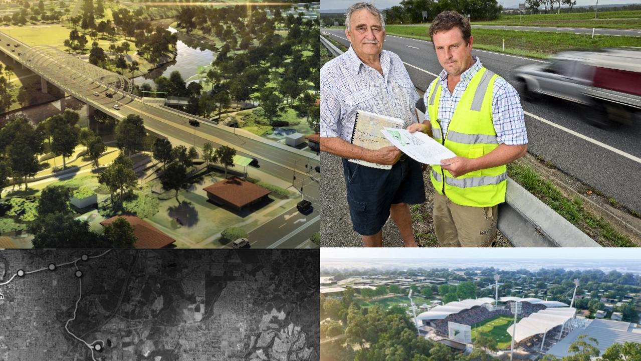 Some of Ipswich's priority projects; clockwise from top left Ipswich Central Second River Crossing, Cunningham Highway upgrade between Yamanto and Ebenezer Creek, North Ipswich Sport and Entertainment Precinct and the Ipswich Central to Springfield Central Public Transport Corridor.