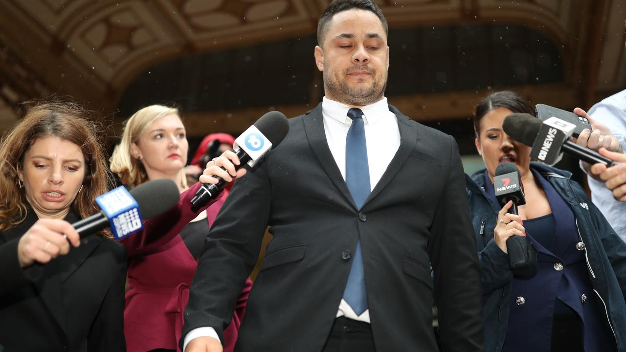 Former NRL superstar Jarryd Hayne after being found guilty of raping a young woman at her home. Picture: Christian Gillies/ NCA NewsWire