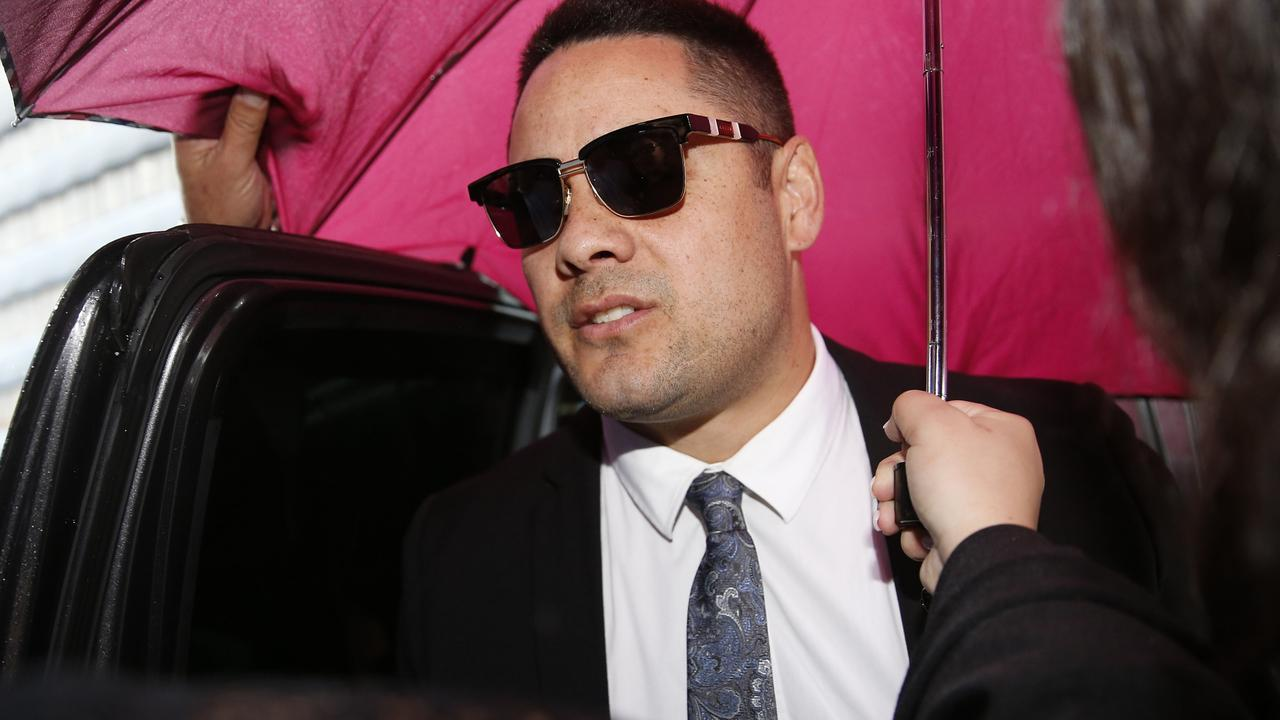 On Thursday evening, Jarryd Hayne relinquished the suit and tie (above) he wore to Newcastle court for his sentencing after being taken to jail. Picture: Darren Pateman.