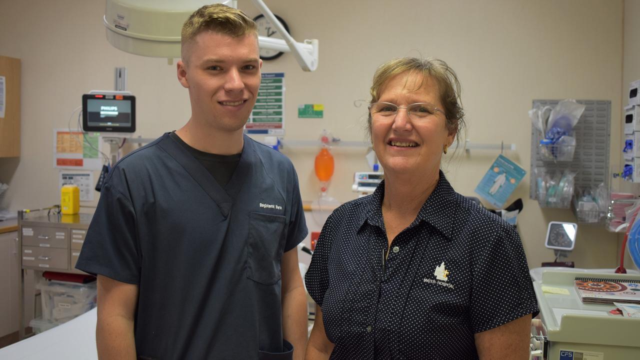 Nurse Josh Richardson works alongside his mother at the Mater Private Hospital Rockhampton.