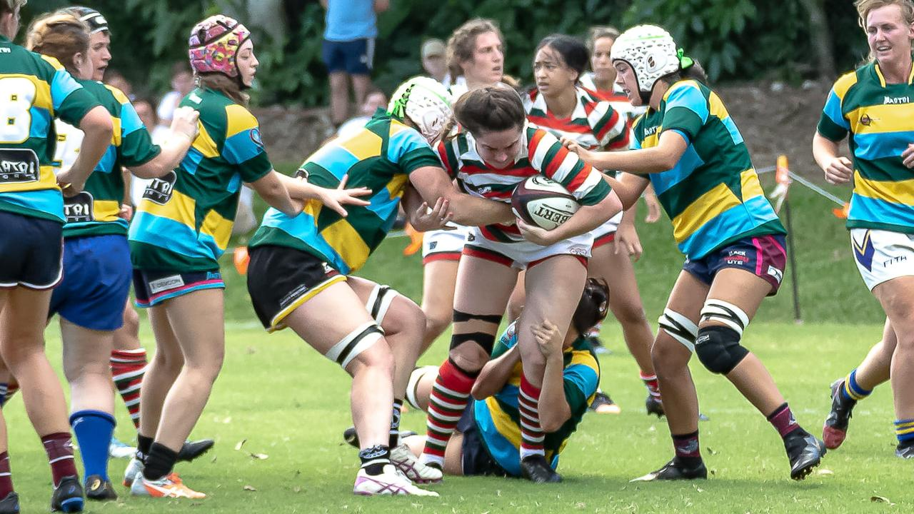 Krystal Johnston making a tackle close to her own tryline. Picture: Chris Lodge