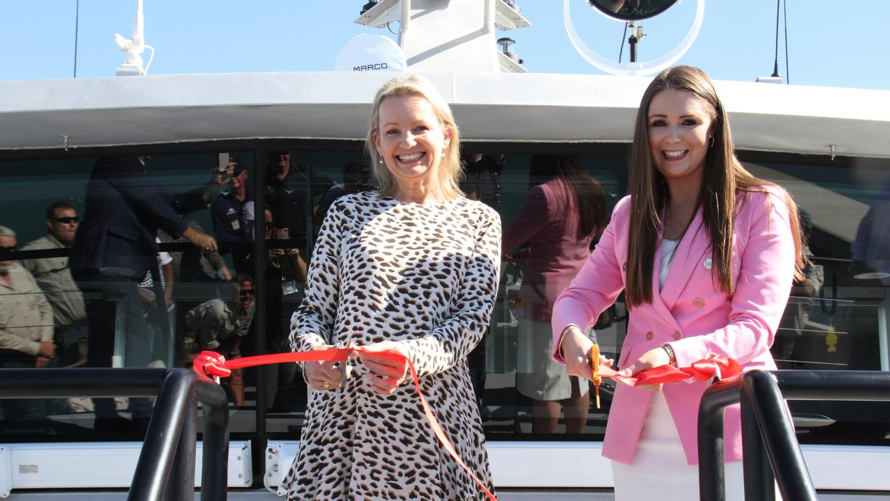 Federal Environment Minister Sussan Ley and Queensland Environment and Great Barrier Reef Minister Meaghan Scanlon cut the ribbon to unveil the $9.7m Reef Resilience vessel. Picture: Rodney Stevens