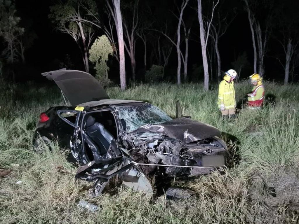 A woman was taken to Mackay Base Hospital overnight following a collision between her car and a truck at Glenden. Picture: RACQ CQ Rescue