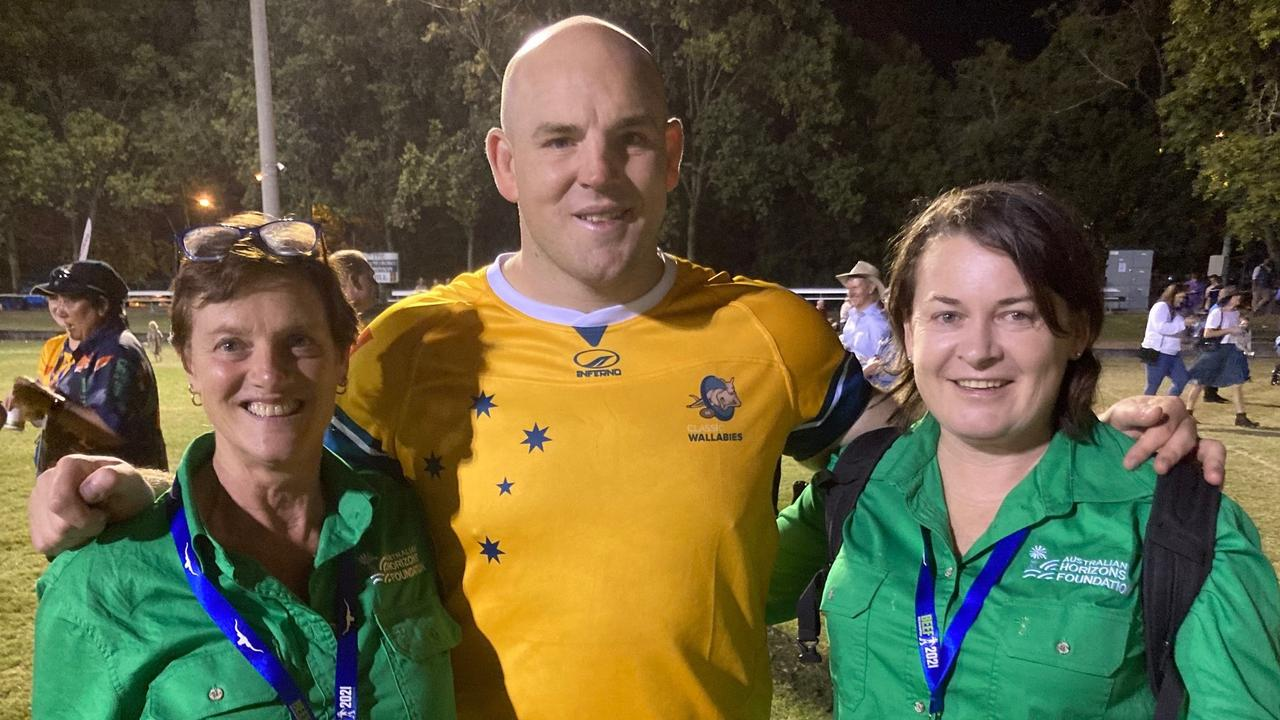 Central Queensland former Wallabies star Stephen Moore catches up with some of his fans after the Classic Wallabies game on Friday night.