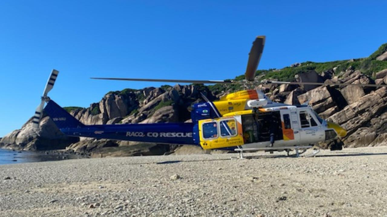 An RACQ CQ Rescue crew has taken a person to hospital following an incident off Penrith Island, east of Mackay on Friday, May 7, 2021. Picture: RACQ CQ Rescue