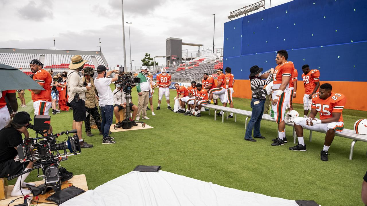Young Rock filming at Dolphin Stadium in Redcliffe. Picture: Mark Taylor/NBC