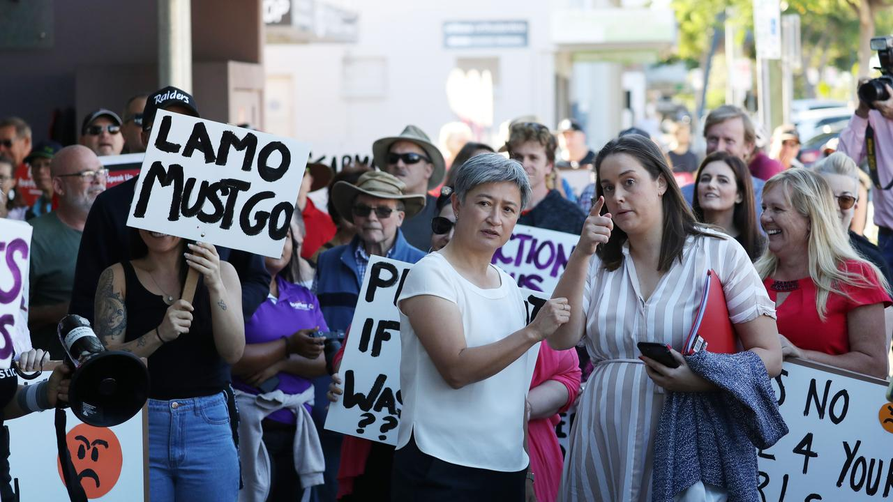 Penny Wong at the Andrew Laming protest. Picture: Annette Dew
