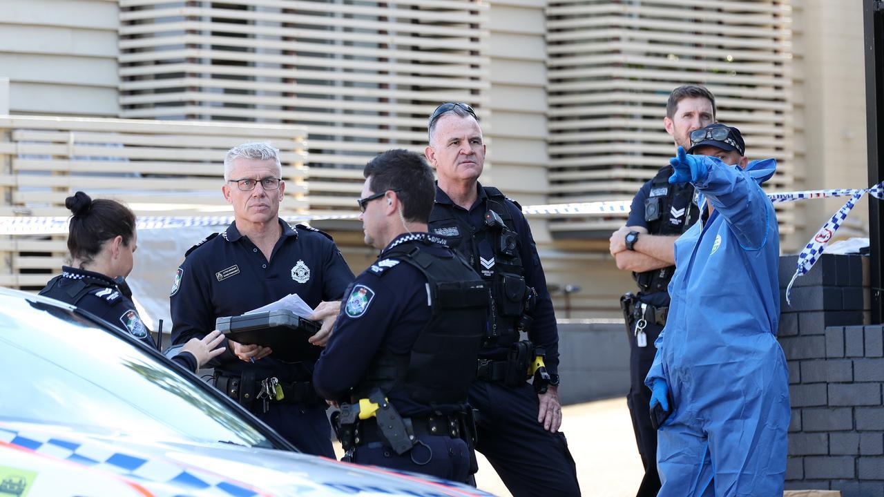 Police at the crime scene on Kedron Brook Road in Wilston. Picture: Tara Croser.