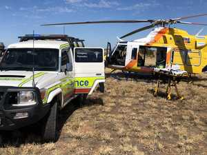 Man airlifted from rural property after machinery fall