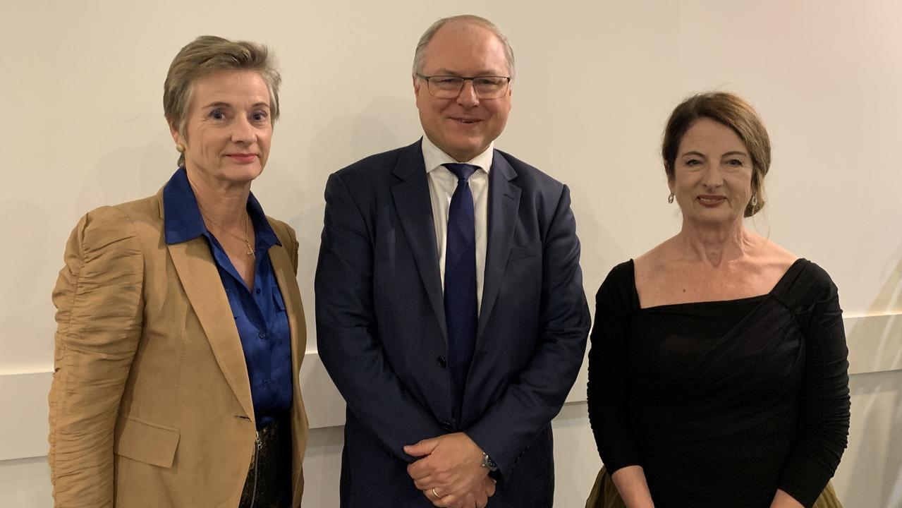 Sunshine Coast Business Council's Bridget Murphy, left, chairwoman Sandy Zubrinich, right, with outgoing Stockland CEO Mark Steinert.