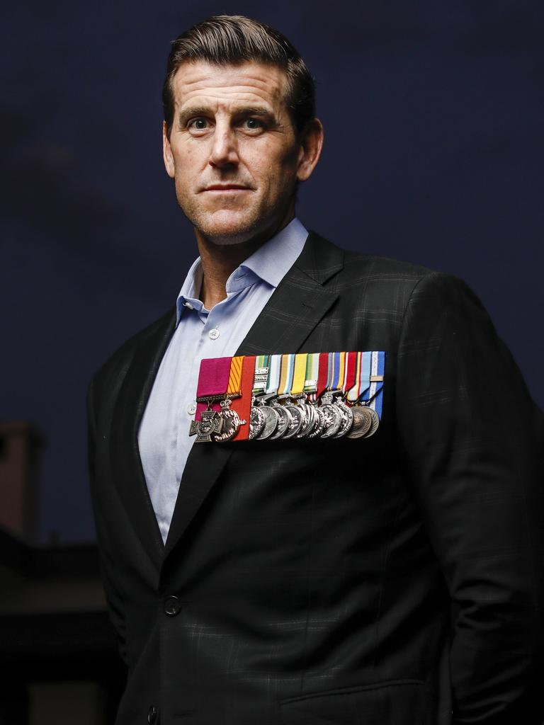 Mr Roberts-Smith with his war medals. Picture: Sean Davey