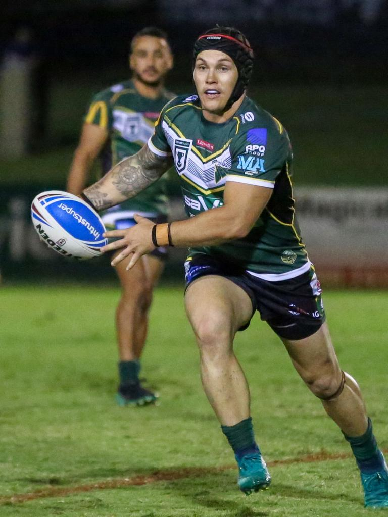 Ipswich Jets five-eight Josh Cleeland runs the ball during his team's Intrust Super Cup match against the Tweed Heads Seagulls at the North Ipswich Reserve. Picture: Jorja Brinums/QRL
