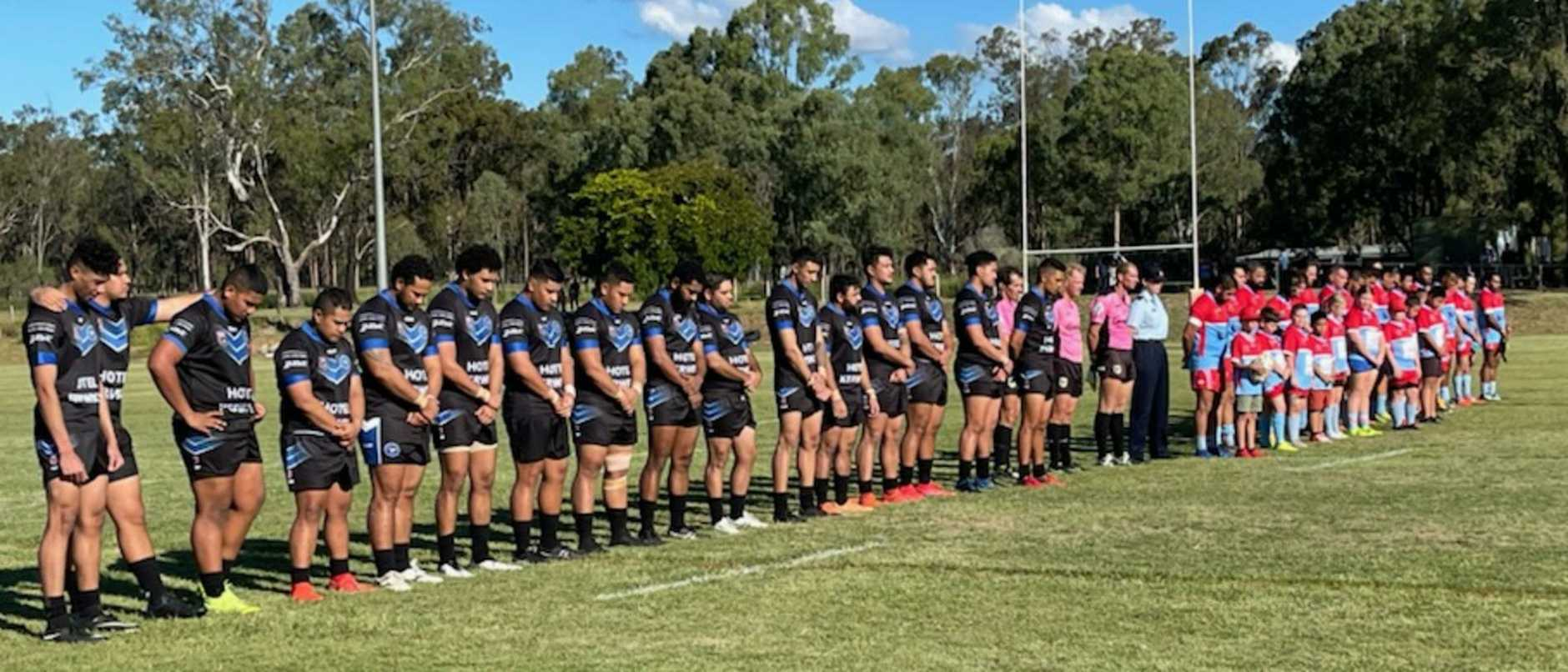 Swifts and Brothers players and officials paid tribute to Shaquille Eruera and Ian Rodgers before their latest A-Grade match at Purga. Picture: David Martin