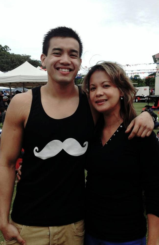 Rinabel Tiglao Blackmore with her son Renzy Libao. Rinabel died after jumping from a moving car in 2014 while her partner Shane Dickson attacked her.