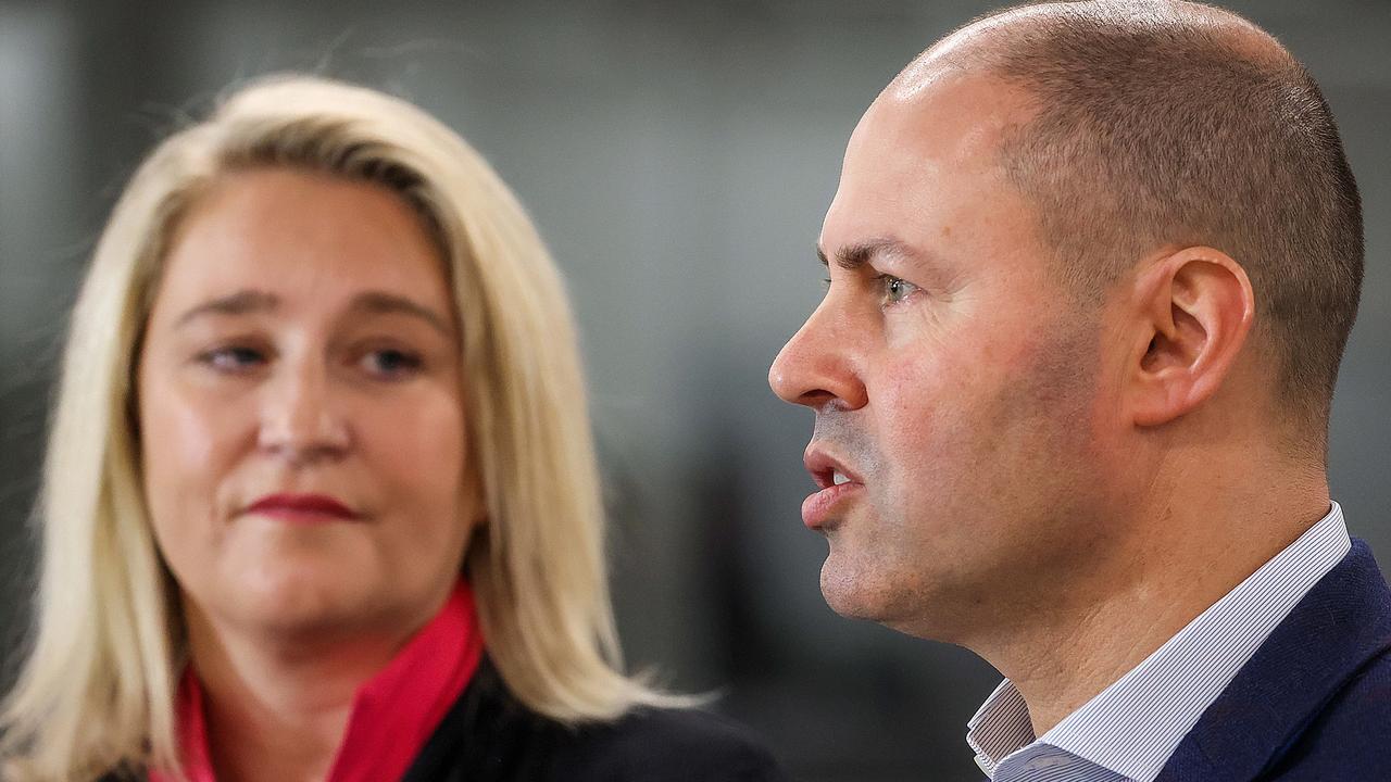 Breast Cancer Network Australia chief Kirsten Pilatti with federal treasurer Josh Frydenberg. Picture: NCA NewsWire / Ian Currie