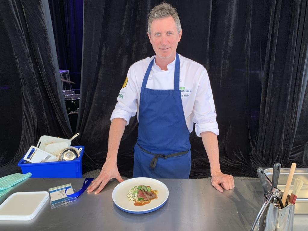 Ben Willis cooks the iconic Aussie wagyu tenderloin steak. Pic: Lachlan Berlin