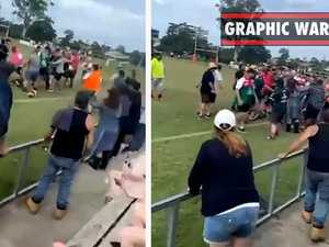 Spectator footy fight erupts