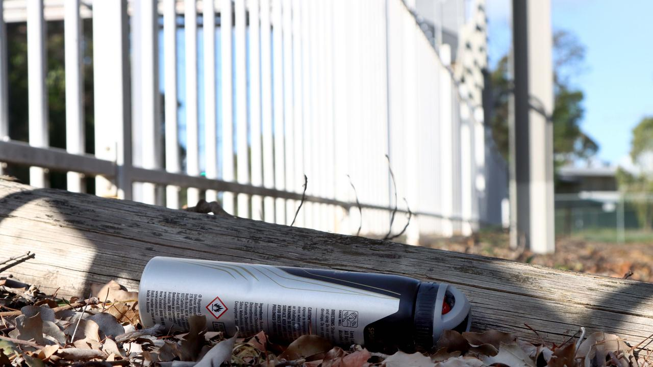 A discarded deodorant can found at a Brisbane train station where there had been reports of people chroming. Picture: AAP/David Clark