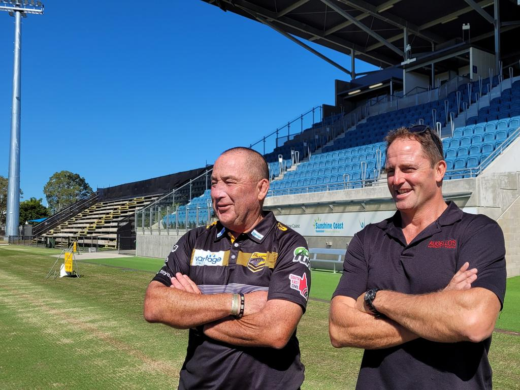 Local rugby league personalities Ashley Robinson and Billy Moore have been strong supporters for the Sunshine Coast Stadium expansion.