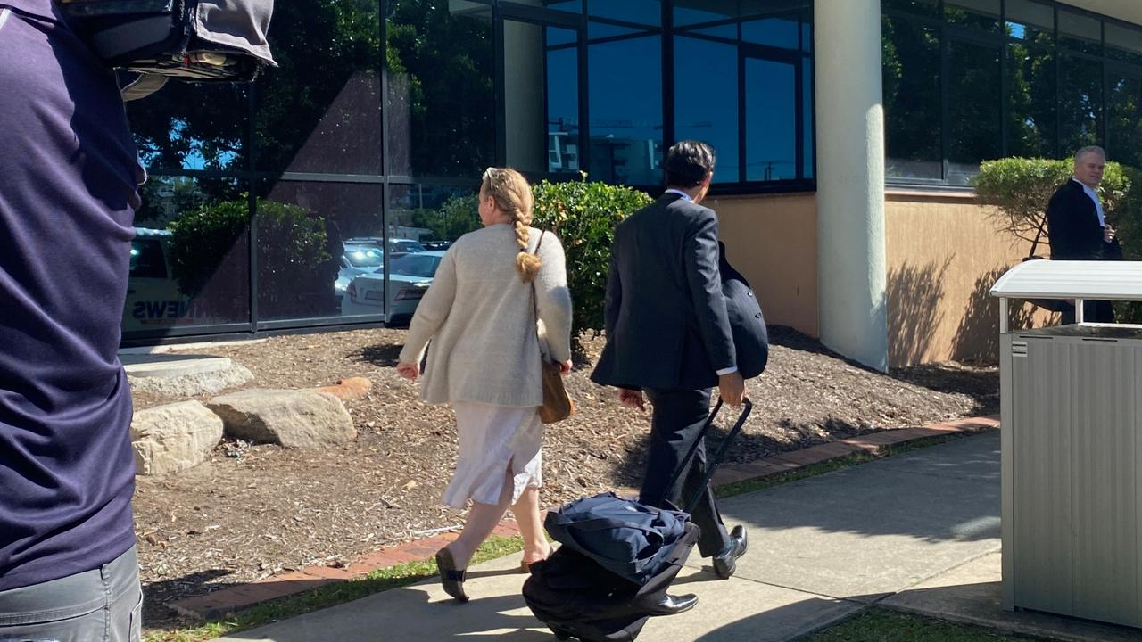 Convicted drug trafficker Phaedra Joy Barrett (left) with her barrister Lincoln Crowley leaving Maroochydore District Court. Photo: Maddie Manwaring