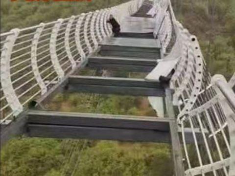 Man left dangling after glass-bottomed bridge shatters