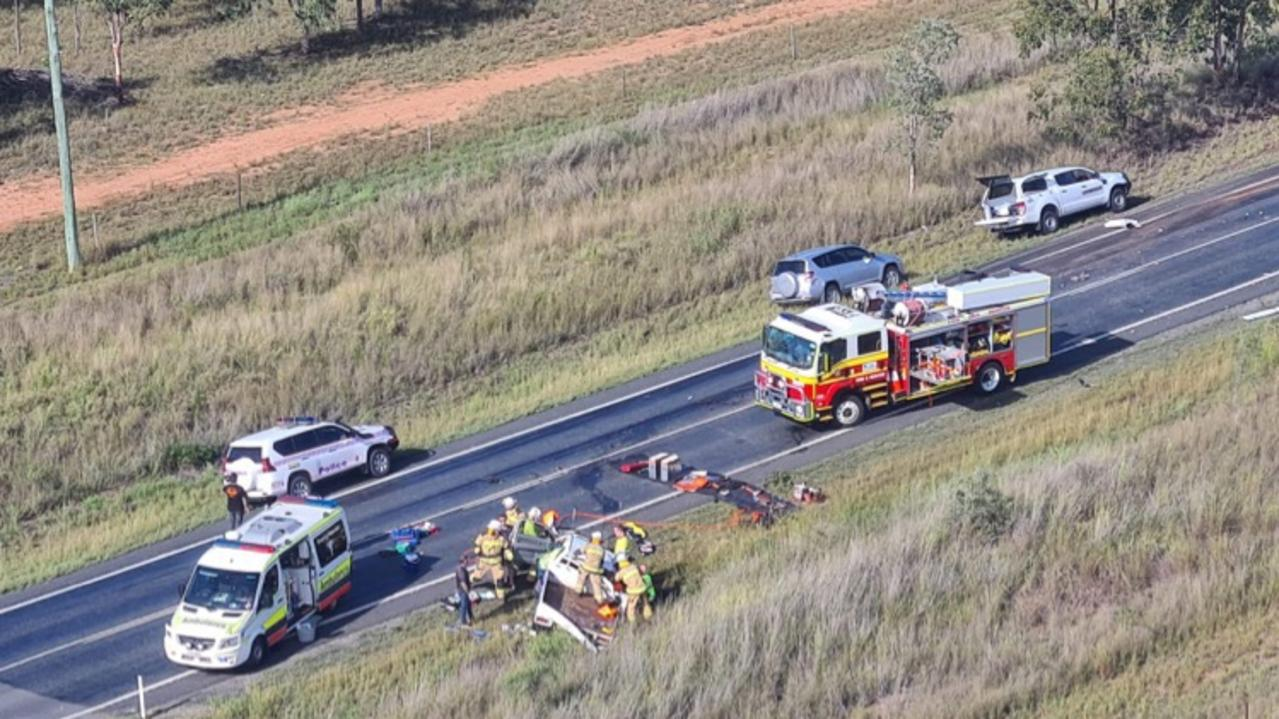 COPPABELLA: A driver lost their arm in this horror crash on the Peak Downs Highway. Picture: RACQ CQ Rescue