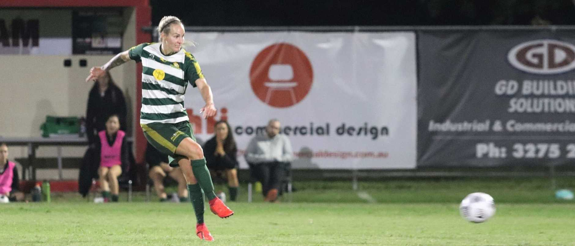 Western Pride goal scorer Kate Webb playing against Olympic in a recent NPL match. Picture: Kerryn Hyett