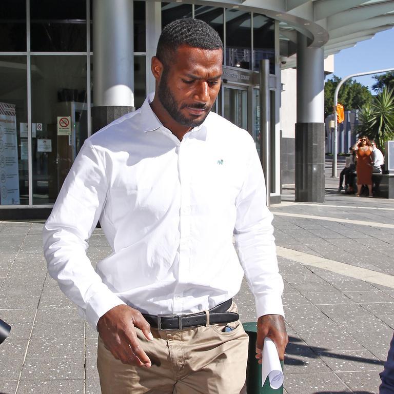 Queensland Reds rugby recruit Suliasi Vunivalu leaves Brisbane Magistrates Court. Picture: Tertius Pickard