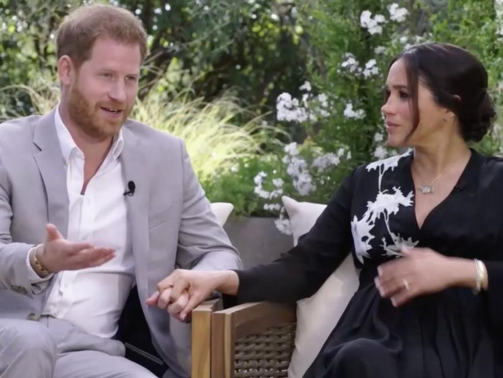 The Duke and Duchess of Sussex spoke candidly to Oprah about their mental health during their bombshell interview back in March. Picture: CBS