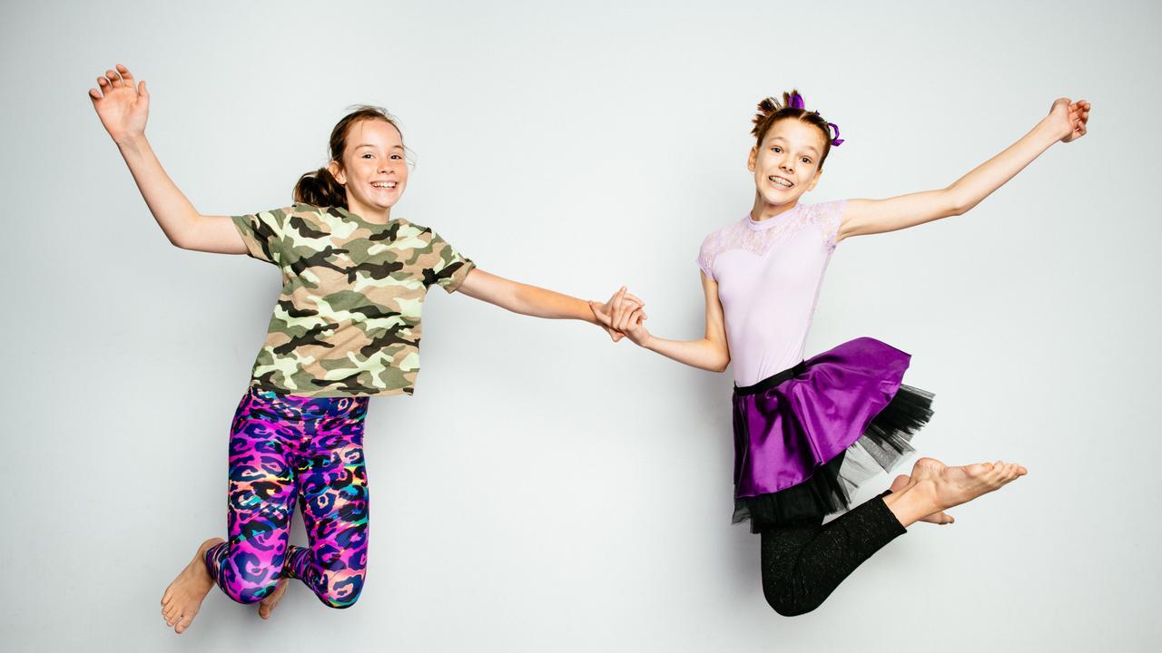 Circus Ipswich performers Matilda Matthews (left) with Katelyn Dewar.
