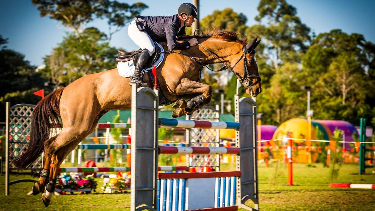 Show jumping is hotly contest at the Maleny Agricultural Show.