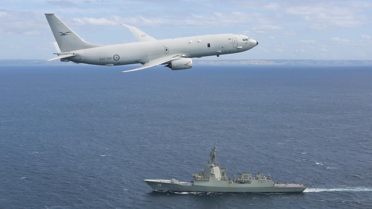 A RAAF P-8A Poseidon supports sea trials for the NUSHIP Hobart in the Gulf St Vincent off the coast of Adelaide. Picture: Supplied