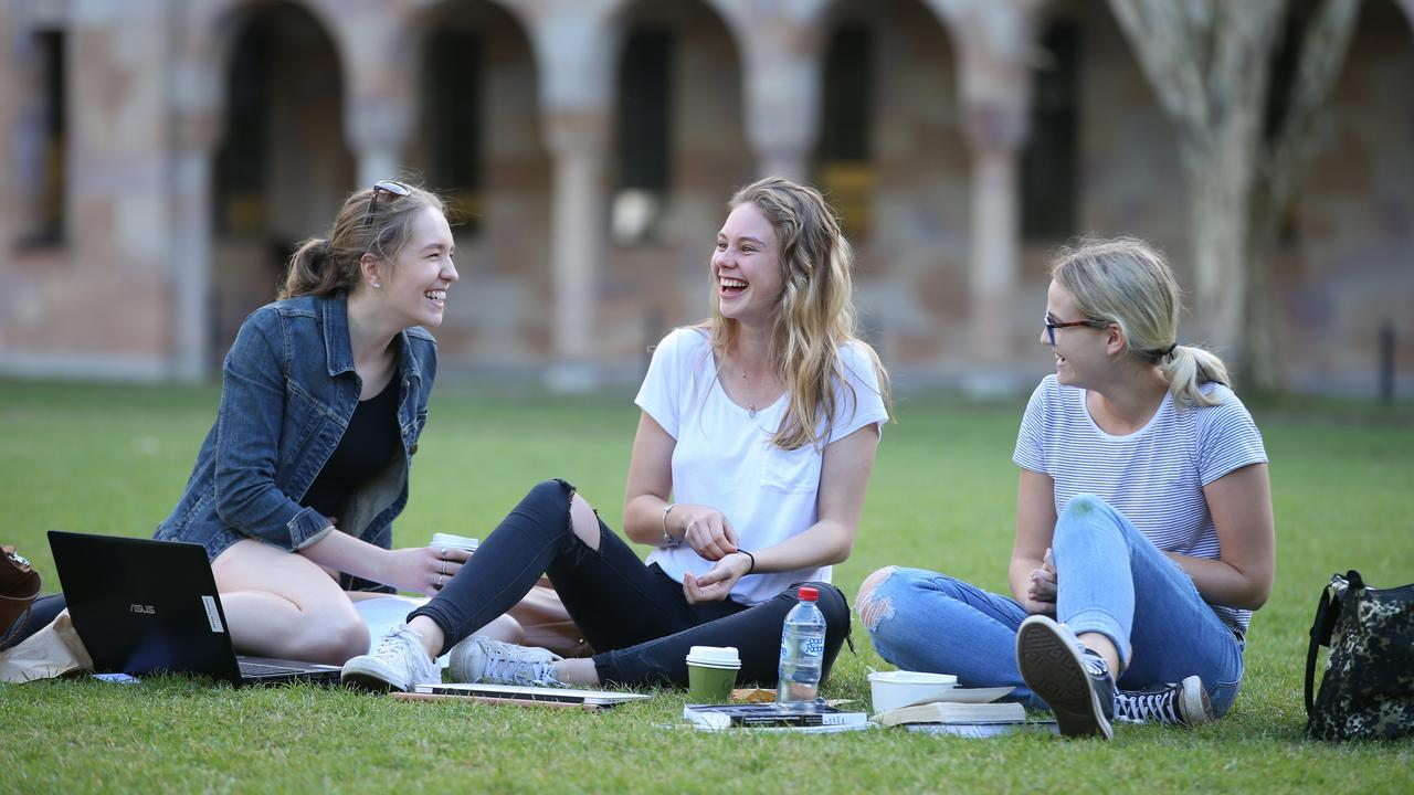 Abbey Pearson, Sarah Nilson and Prue Dellar at the University of Queensland. The uni is a major driver of house prices. Picture: Lyndon Mechielsen/The Australian